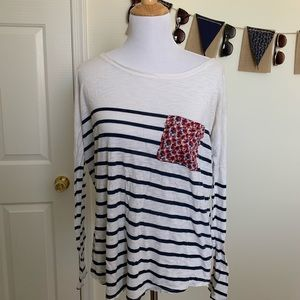 Anthropologie T. La Striped Floral Pocket Tee